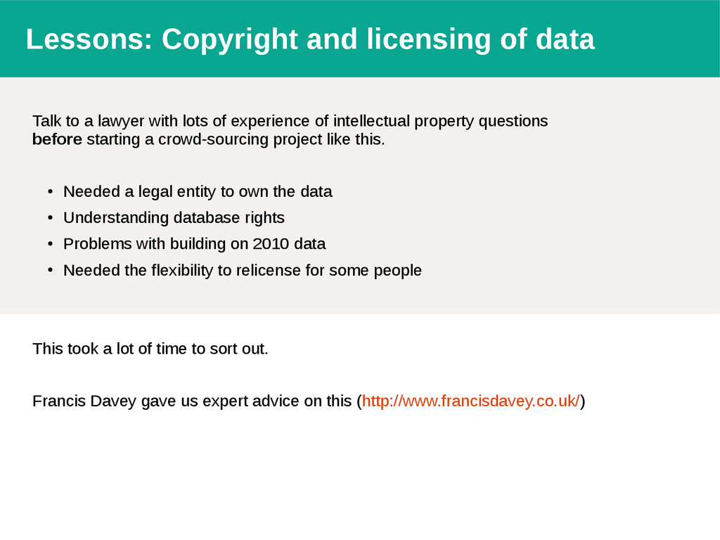 Lessons: Copyright and licensing of data Talk t...