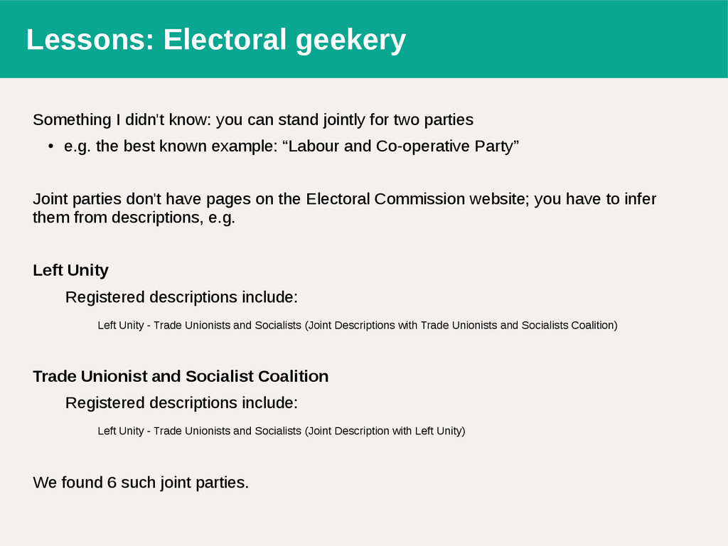 Lessons: Electoral geekery Something I didn't k...