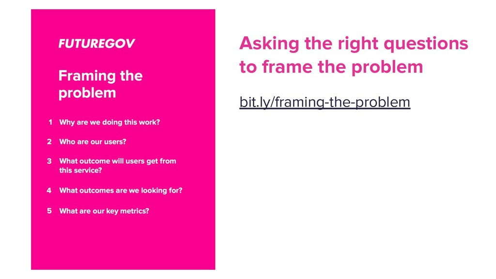 Asking the right questions to frame the problem...