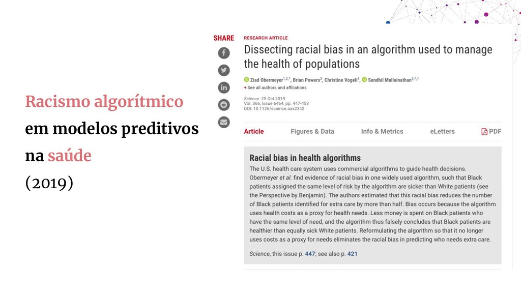Racismo algorítmico em modelos preditivos na sa...