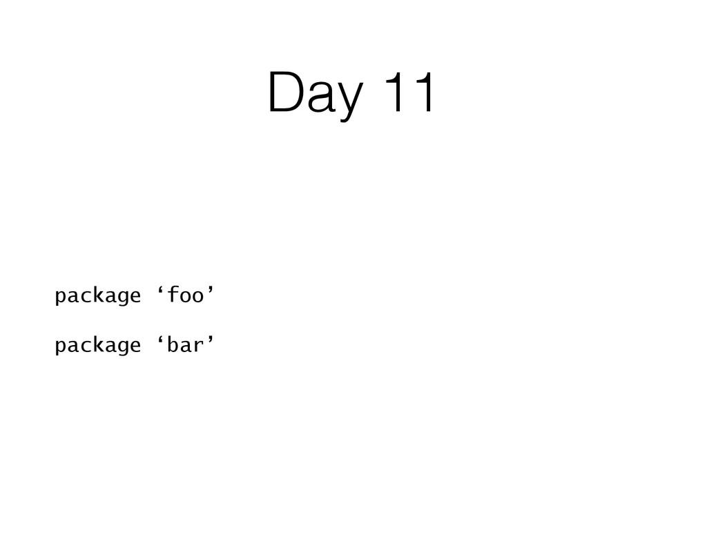 Day 11 package 'foo' package 'bar'