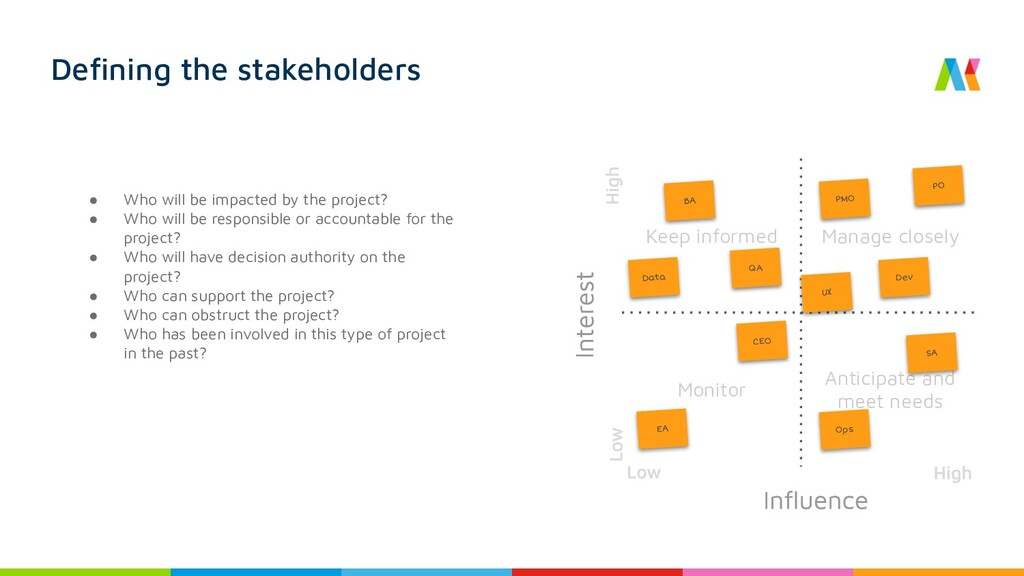 Defining the stakeholders ● Who will be impacted...