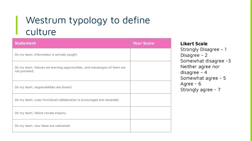Westrum typology to define culture Statement You...