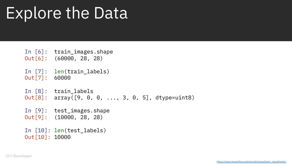 Explore the Data In [6]: train_images.shape Out...