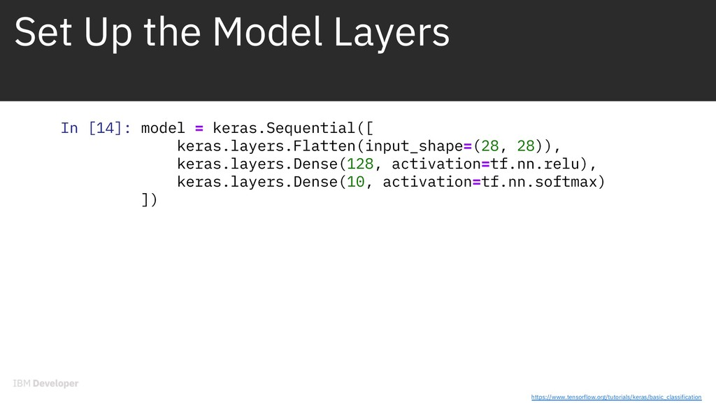 Set Up the Model Layers In [14]: model = keras....