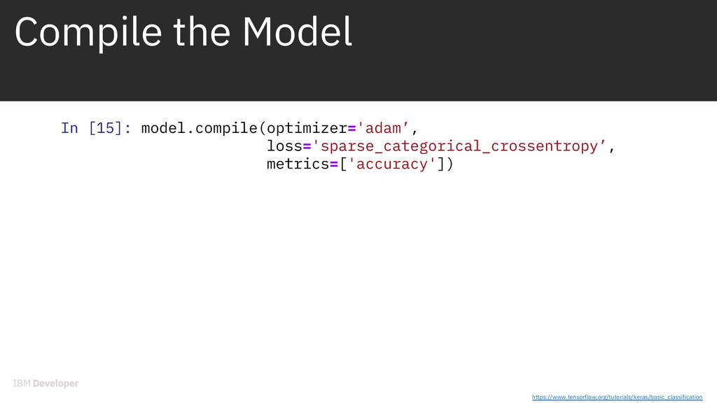 Compile the Model In [15]: model.compile(optimi...