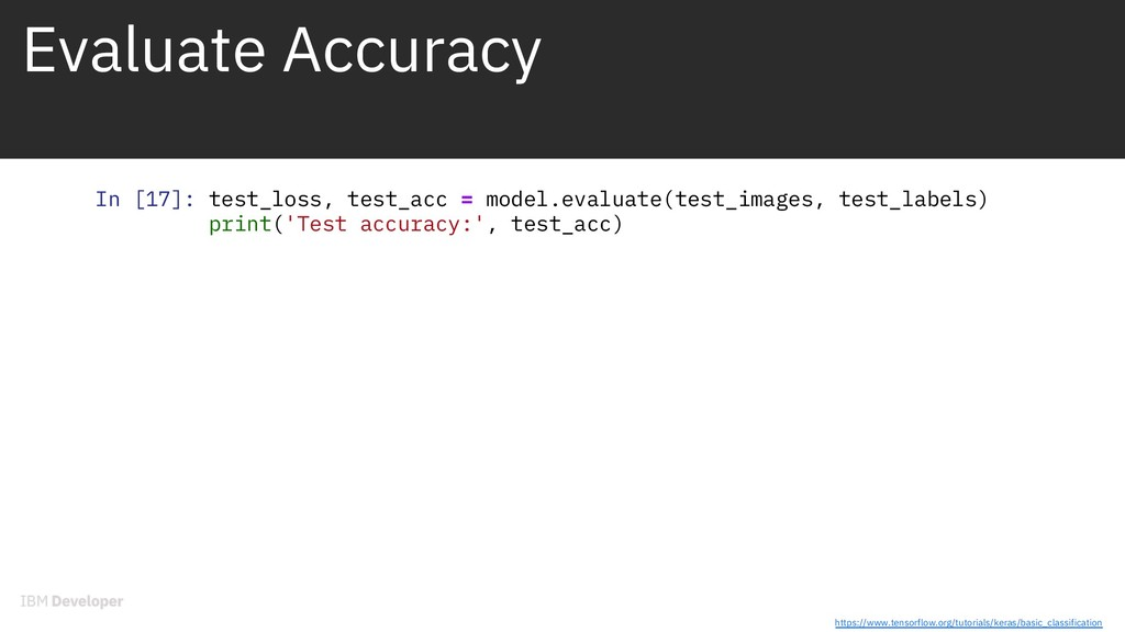 Evaluate Accuracy In [17]: test_loss, test_acc ...