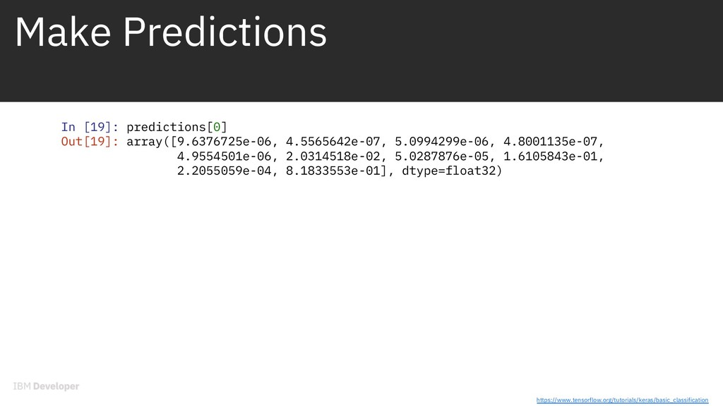 Make Predictions In [19]: predictions[0] Out[19...