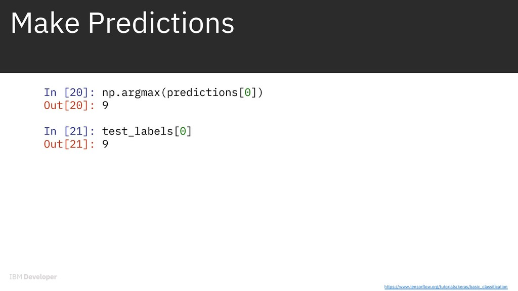 Make Predictions In [20]: np.argmax(predictions...