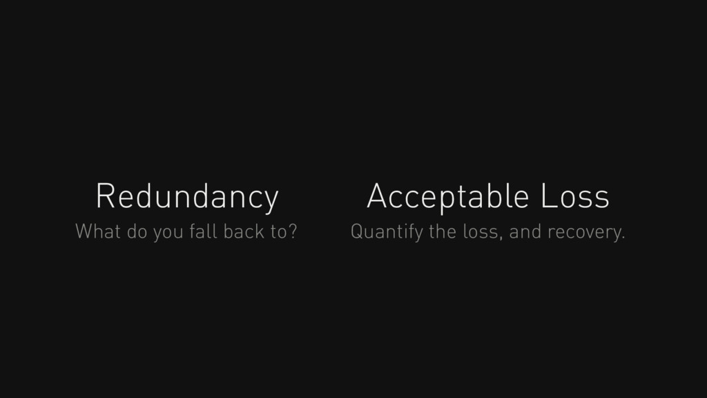 Redundancy Acceptable Loss What do you fall bac...
