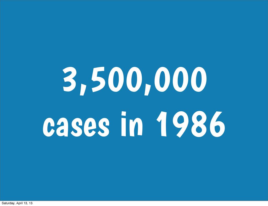 3,500,000 cases in 1986 Saturday, April 13, 13