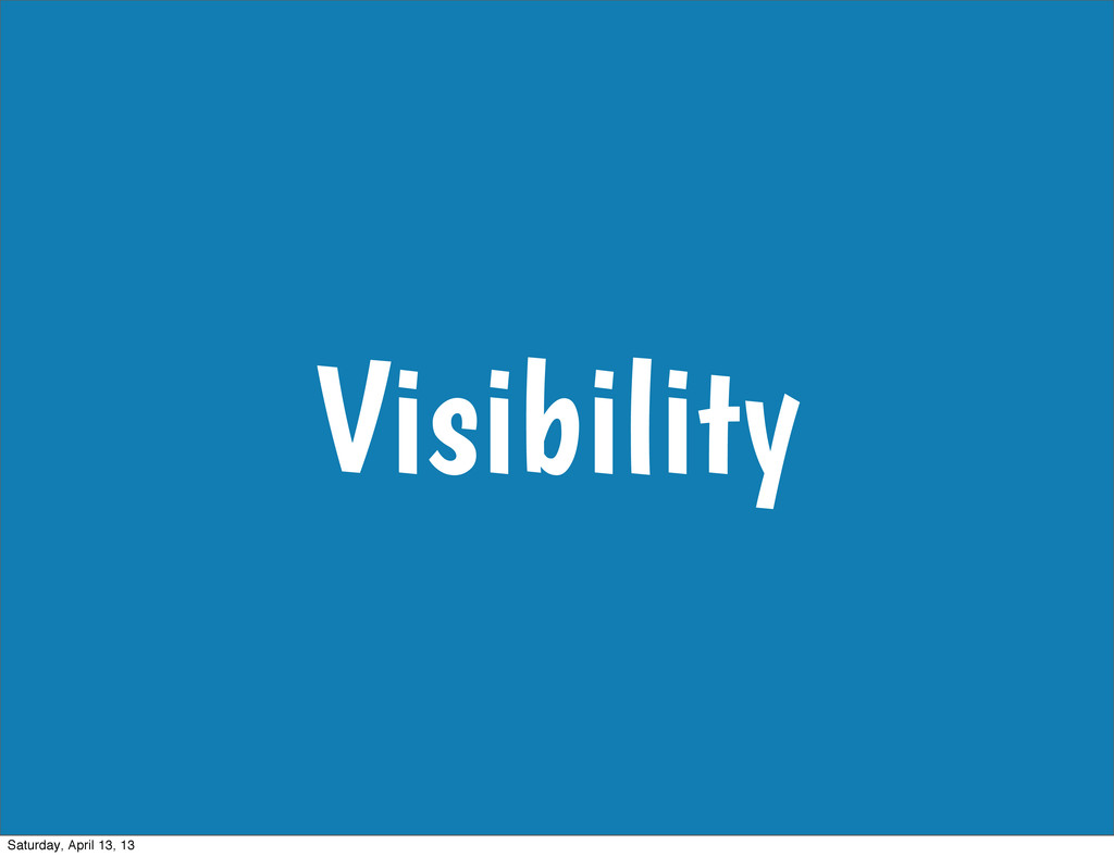 Visibility Saturday, April 13, 13