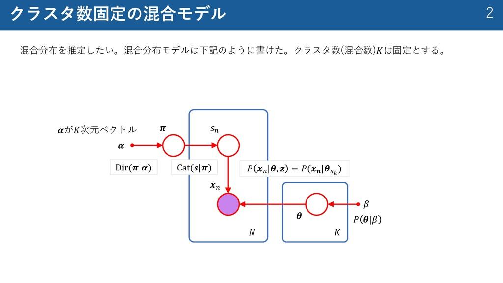 2 クラスタ数固定の混合モデル 混合分布を推定したい。混合分布モデルは下記のように書けた。クラ...