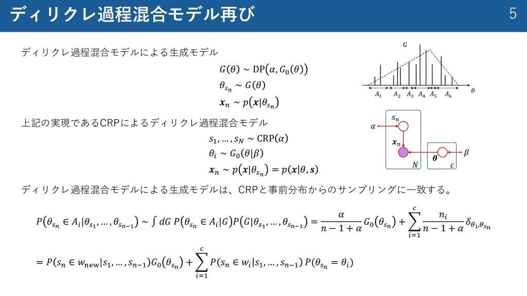 5 ディリクレ過程混合モデル再び ディリクレ過程混合モデルによる⽣成モデル 𝐺 𝜃 ∼ DP ...