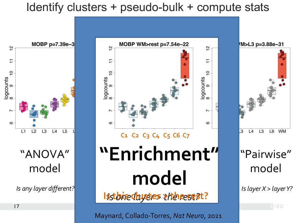 Identify clusters + pseudo-bulk + compute stats...