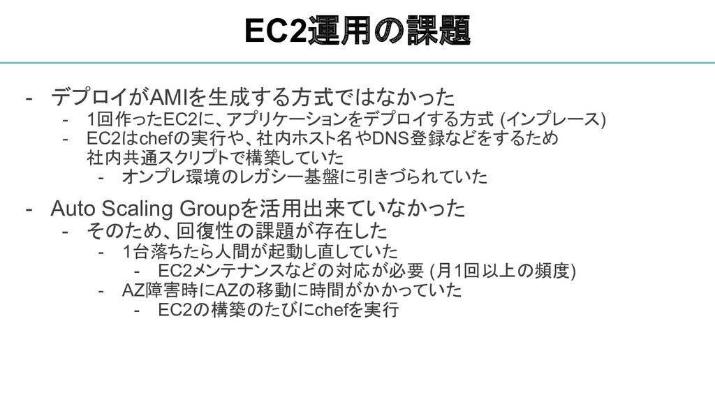 - デプロイがAMIを生成する方式ではなかった - 1回作ったEC2に、アプリケーションをデプ...