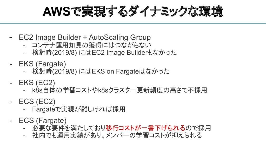 - EC2 Image Builder + AutoScaling Group - コンテナ運...