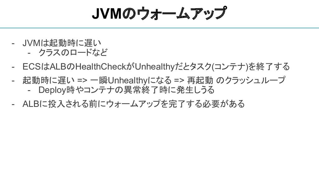 - JVMは起動時に遅い - クラスのロードなど - ECSはALBのHealthCheckが...