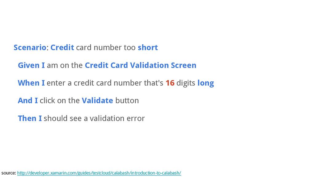 Scenario: Credit card number too short Given I ...