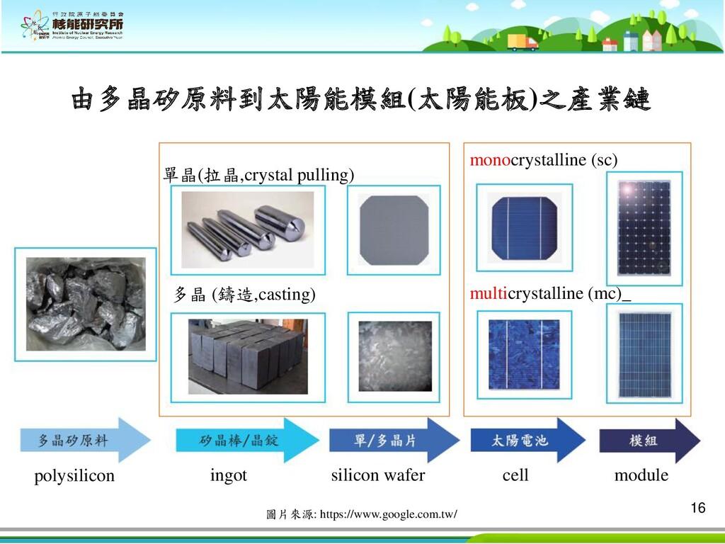 16 單晶(拉晶,crystal pulling) 多晶 (鑄造,casting) ingot...