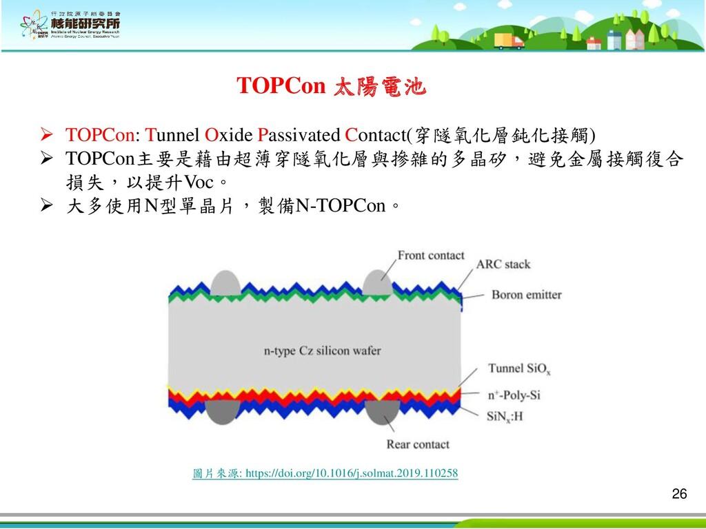 26 TOPCon 太陽電池 ➢ TOPCon: Tunnel Oxide Passivate...