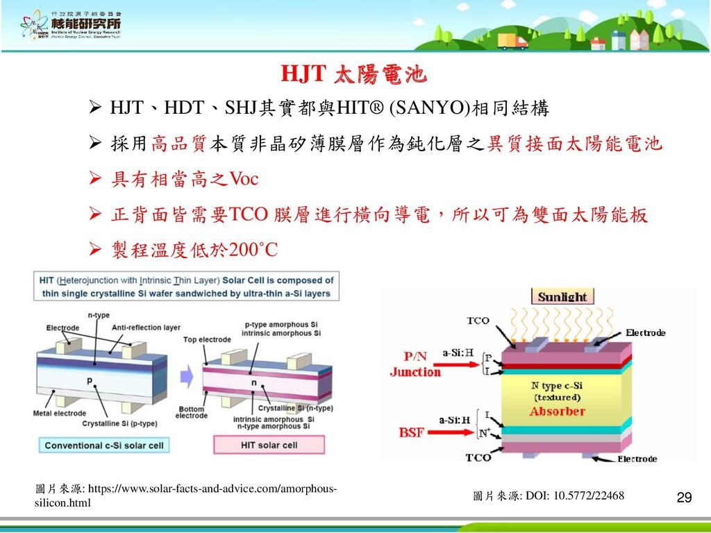 29 HJT 太陽電池 ➢ HJT、HDT、SHJ其實都與HIT® (SANYO)相同結構 ➢...