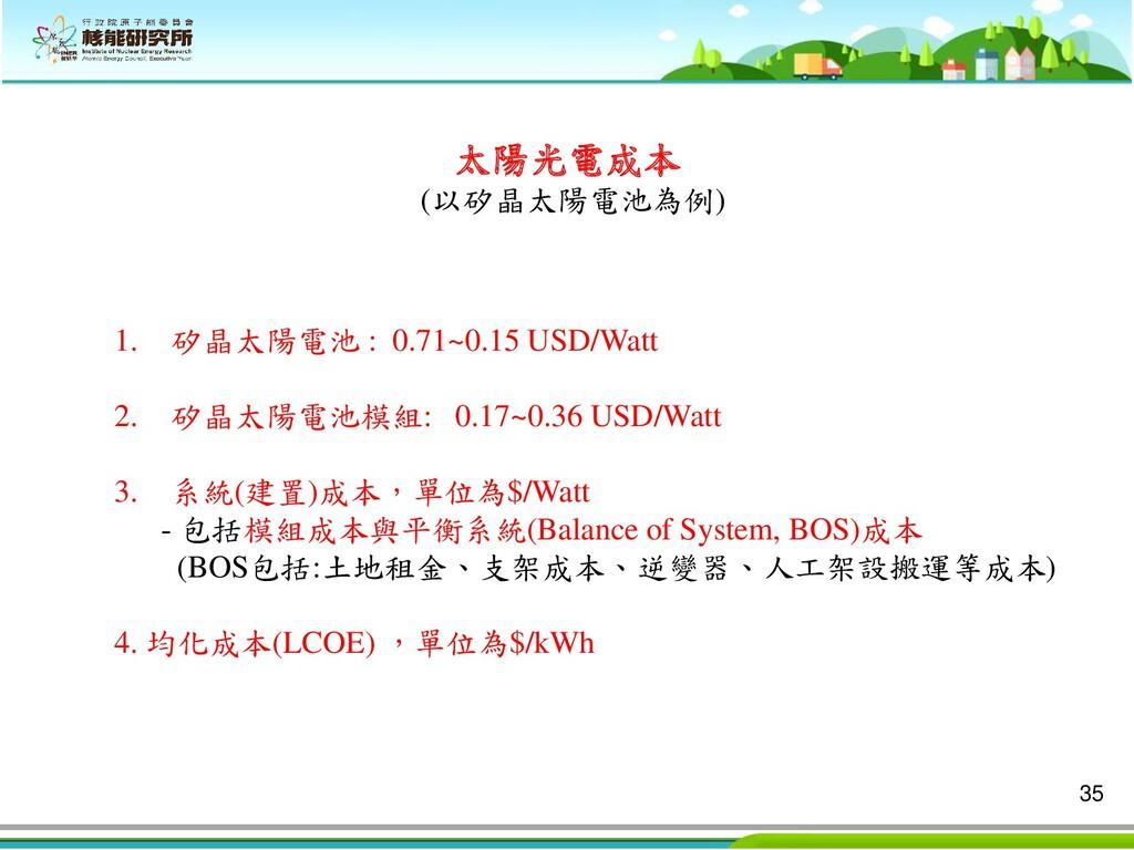 35 太陽光電成本 (以矽晶太陽電池為例) 1. 矽晶太陽電池 : 0.71~0.15 USD...