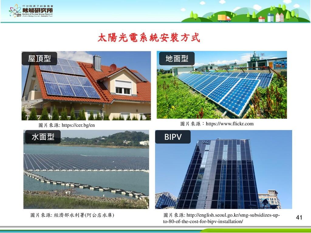 41 屋頂型 水面型 地面型 BIPV 太陽光電系統安裝方式 圖片來源: https://ce...