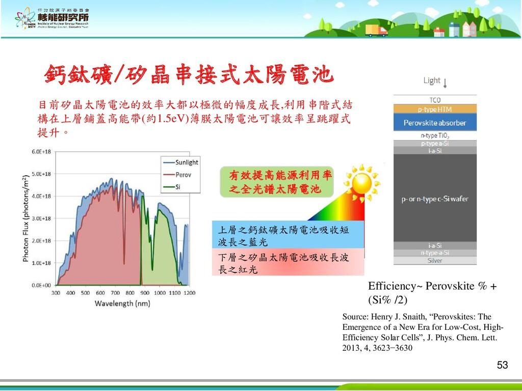 53 鈣鈦礦/矽晶串接式太陽電池 Efficiency~ Perovskite % + (Si...