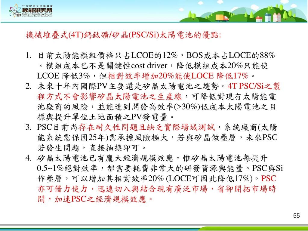 55 機械堆疊式(4T)鈣鈦礦/矽晶(PSC/Si)太陽電池的優點: 1. 目前太陽能模組價格...