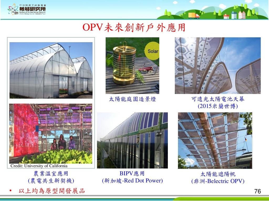 OPV未來創新戶外應用 農業溫室應用 (農電共生新契機) 太陽能庭園造景燈 可透光太陽電池天幕...