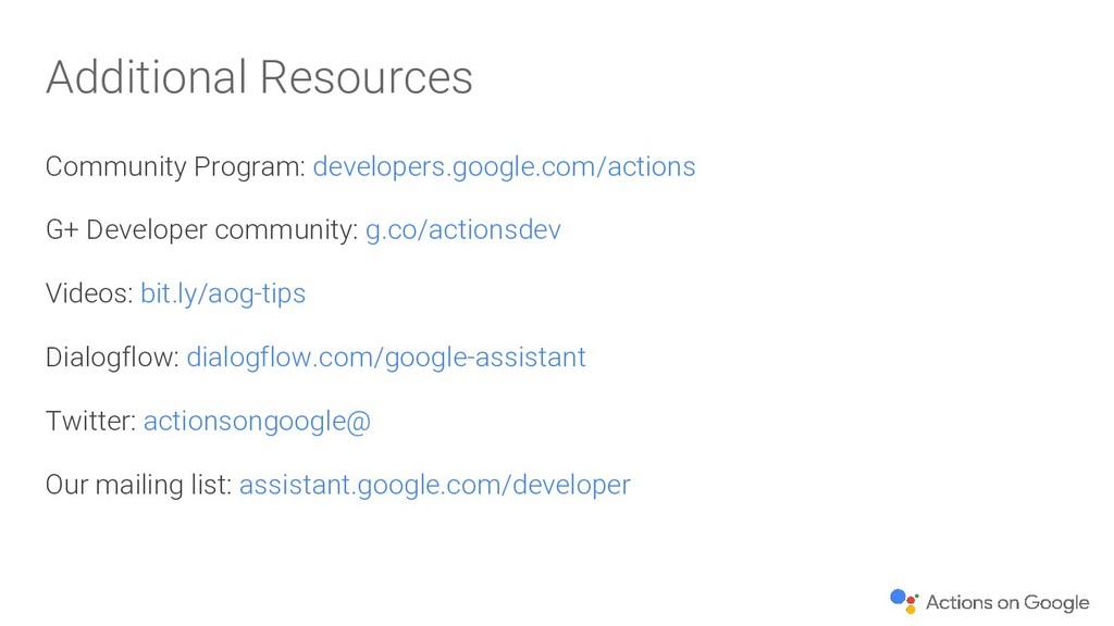 Additional Resources Community Program: develop...