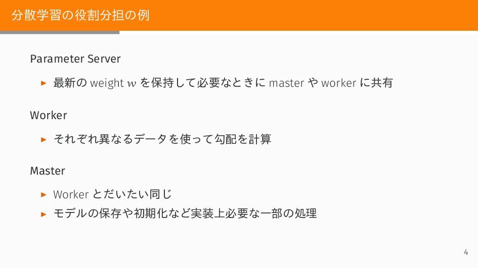 分散学習の役割分担の例 Parameter Server ▶ 最新の weight w を保持...