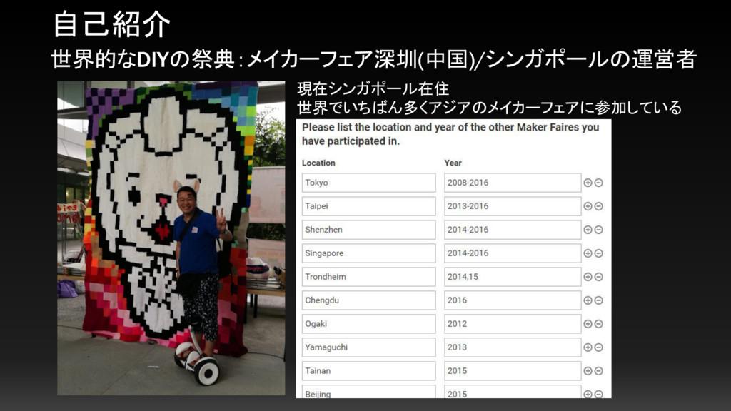 自己紹介 世界的なDIYの祭典:メイカーフェア深圳(中国)/シンガポールの運営者 現在シンガポ...