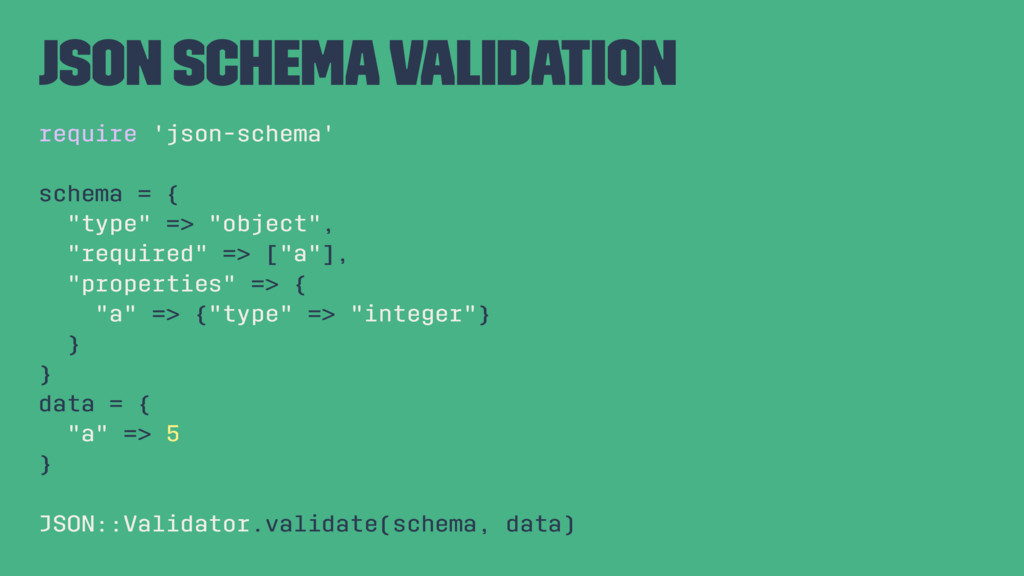 JSON Schema Validation require 'json-schema' sc...