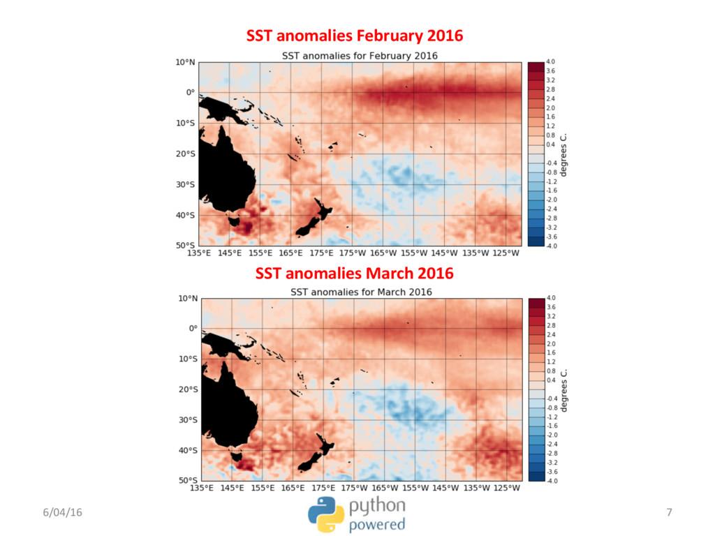 SST anomalies March 2016 6/04/16 7 SST anomalie...