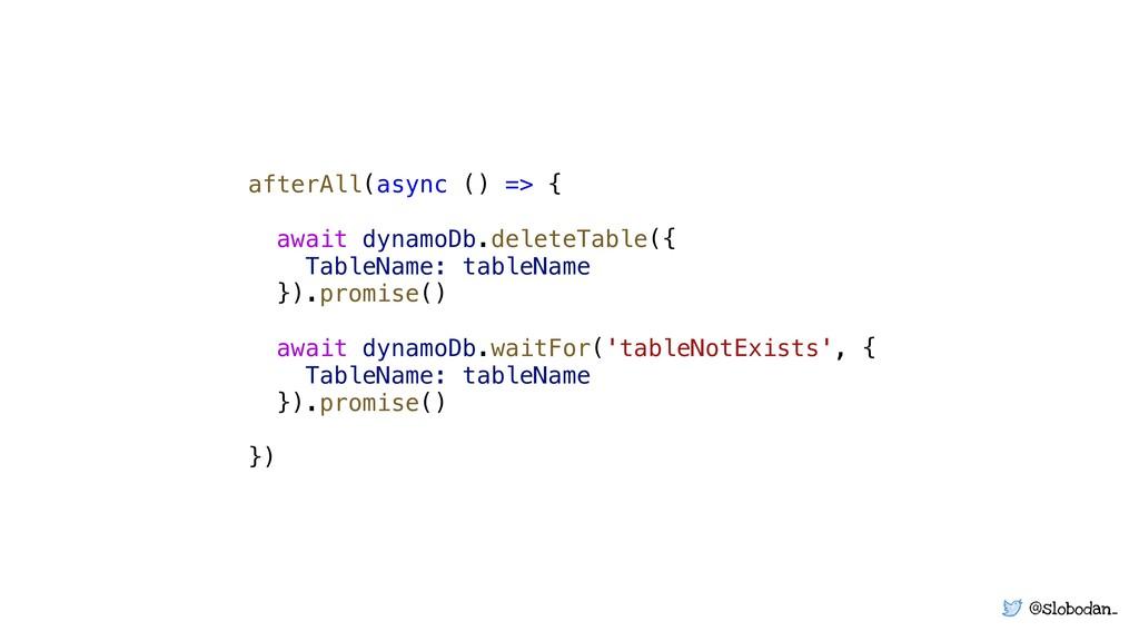 @slobodan_ afterAll(async () => { await dynamoD...