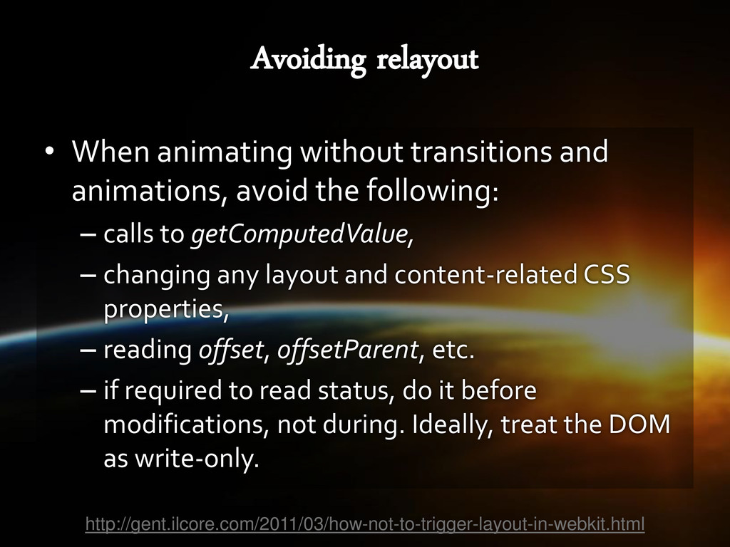 • When animating without transitions and animat...