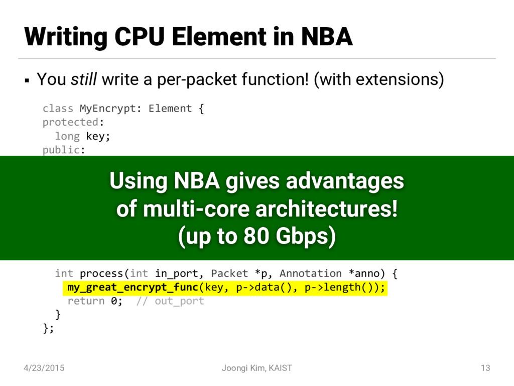 Writing CPU Element in NBA § You still write a ...