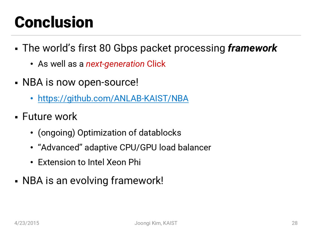 Conclusion § The world's first 80 Gbps packet p...