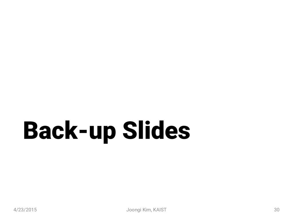 Back-up Slides 4/23/2015 Joongi Kim, KAIST 30