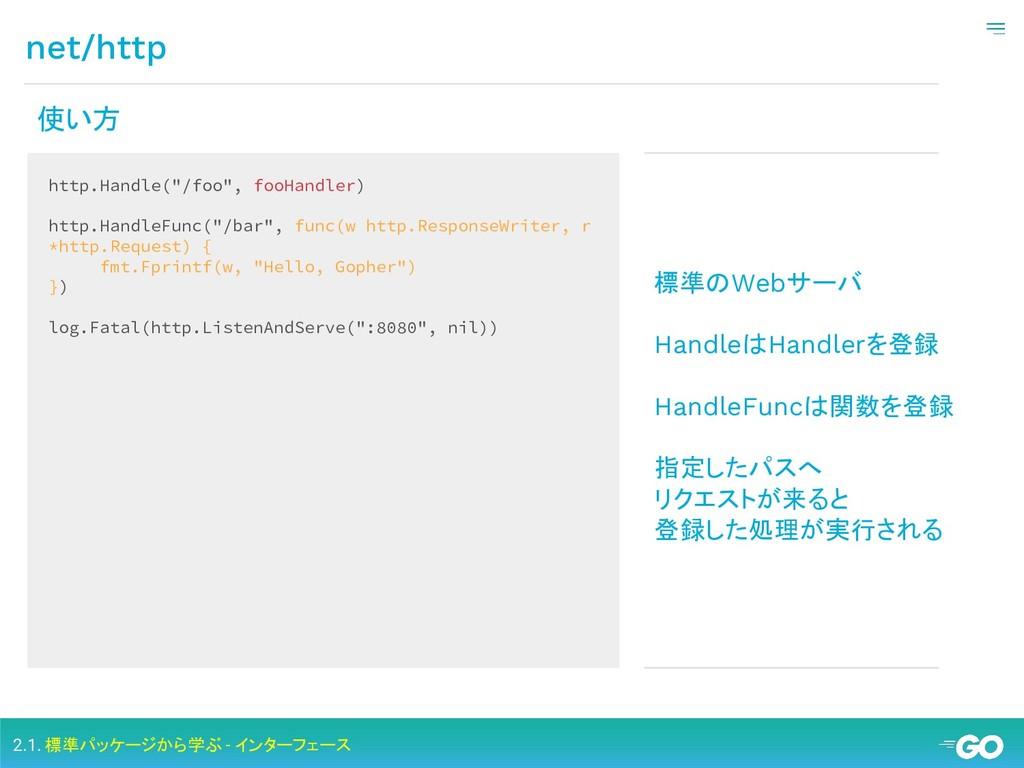 net/http 2.1. 標準パッケージから学ぶ - インターフェース 使い方 http.H...