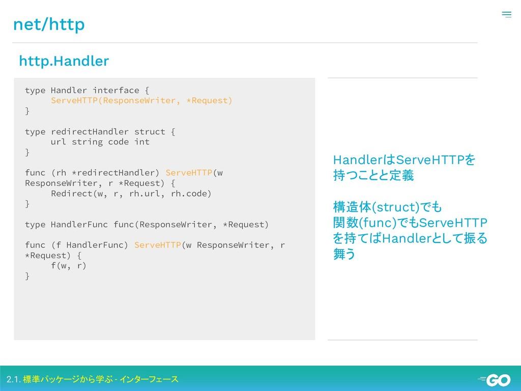 net/http 2.1. 標準パッケージから学ぶ - インターフェース type Handl...