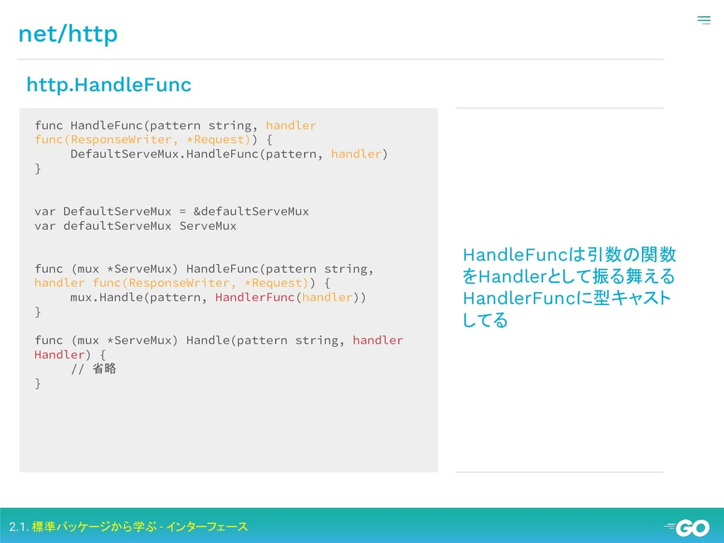 net/http 2.1. 標準パッケージから学ぶ - インターフェース func Handl...