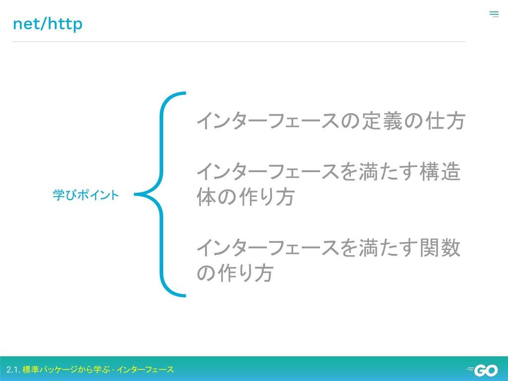 { net/http 学びポイント インターフェースの定義の仕方 インターフェースを満たす構造...