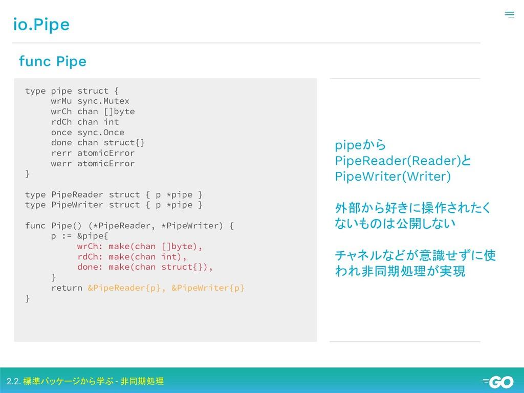io.Pipe 2.2. 標準パッケージから学ぶ - 非同期処理 type pipe stru...