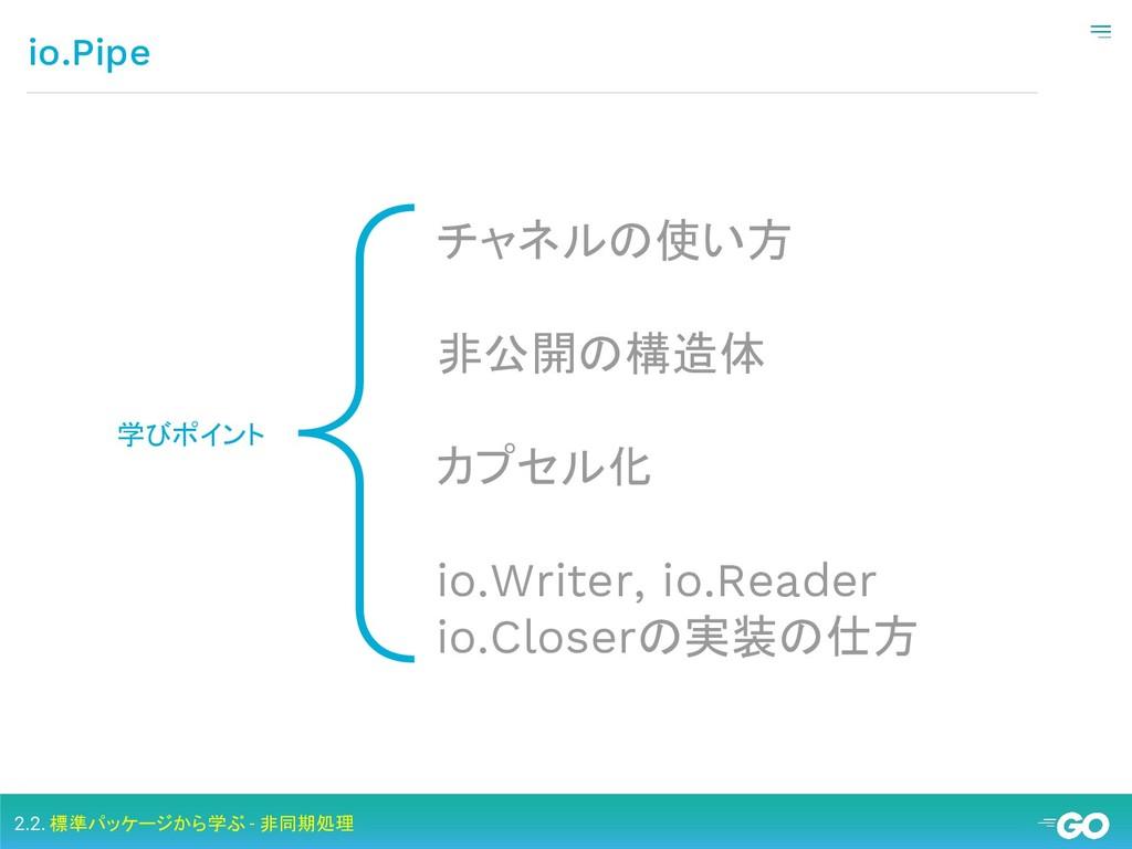 { io.Pipe 学びポイント チャネルの使い方 非公開の構造体 カプセル化 io.Writ...