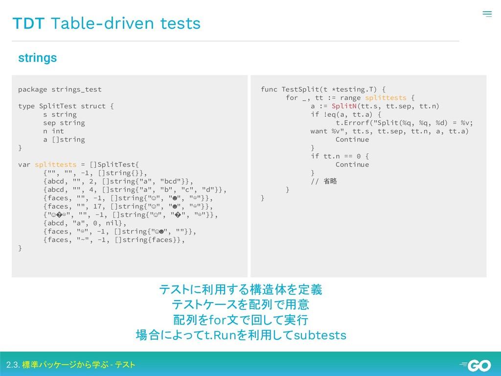 TDT Table-driven tests 2.3. 標準パッケージから学ぶ - テスト p...