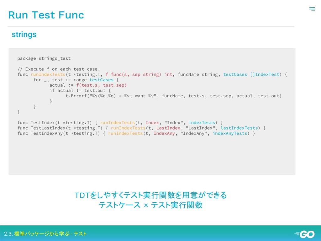 Run Test Func 2.3. 標準パッケージから学ぶ - テスト package st...