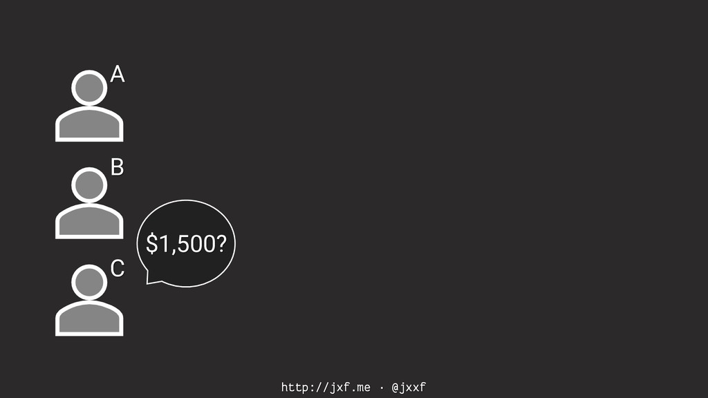 http://jxf.me · @jxxf A B C $1,500?